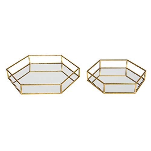 Kate and Laurel Felicia Metal Mirrored Ornate Set of 2 Decorative Trays, Gold Leaf Finish, - Leaf Set Finish Gold