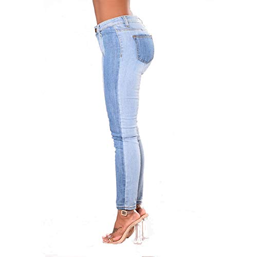 Flacos Mujer Tonos De Pantalones para Dos Mezclilla Elásticos Lightblue De E4ZxwnFqR