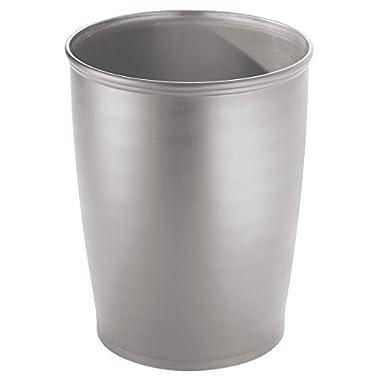 InterDesign Kent Tall Wastebasket Trash Can, Silver
