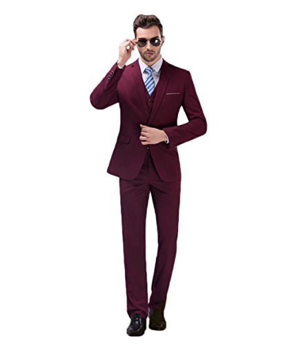 AK Beauty 3 Piece Modern Slim Fit Suit for Men – Includes Jacket Trousers and Vest