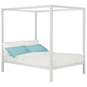 DHP Modern Metal Canopy Bed, Full, White