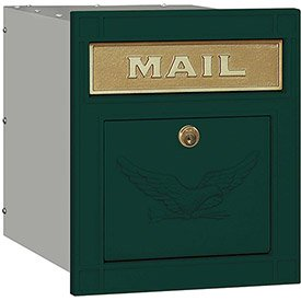 Salsbury Cast Aluminum Column Mailbox 4145E-GRN - Recessed Mounted Locking, Eagle Door, Green - Column Recessed Mailbox