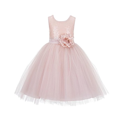 Wedding Formal Sequins Bodice Ruffle Tulle Flower Girl Dress Easter Toddler Birthday Pageant Communion Gown J122F Blush Pink (Best Quinceanera Dress Designers)