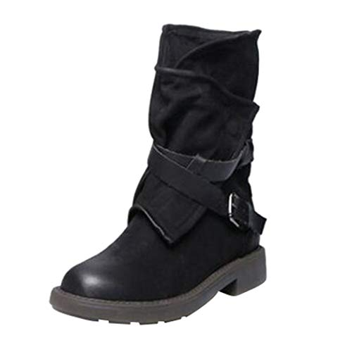 Women Military Boots,Western Buckle Strap Artificial Leather Shoes 5.5-9.5 (Black, US:9)