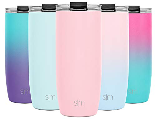 Simple Modern 20oz Voyager Travel Mug Tumbler w/Clear Flip Lid & Straw – Coffee Cup Vacuum Insulated Flask 18/8 Stainless Steel Hydro Water Bottle -Blush