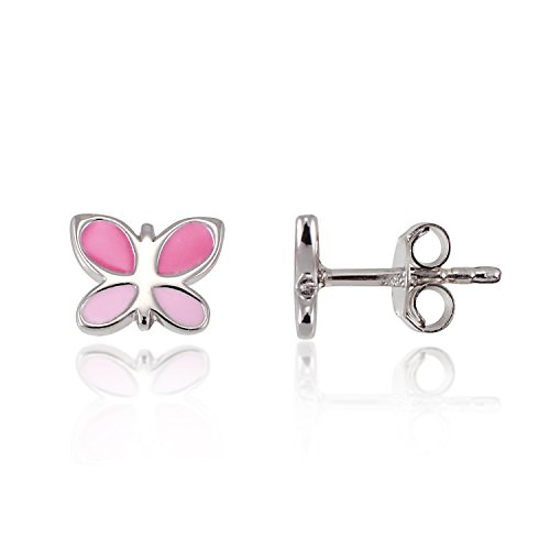 Sterling Silver Enamel Earring (Children's 925 Sterling Silver Tiny Pink Butterfly 7 mm Post Stud)