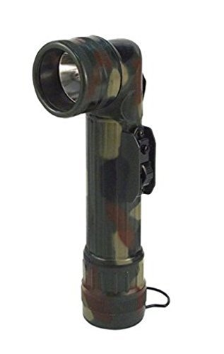 Woodland Camo Military GI Style D Cell Battery Angle Flashlight Color Lenses