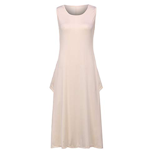 Sunhusing Ladies Solid Color Round Neck Sleeveless Pocket Loose Dress Loose Baggy Plus Size Romper Maxi Dress Beige
