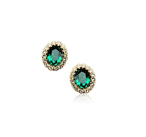 Gold-Plated-Oval-Shaped-Swarovski-Elements-Crystal-Emerald-Green-Stud-Earrings-Fashion-Jewelry-for-Women
