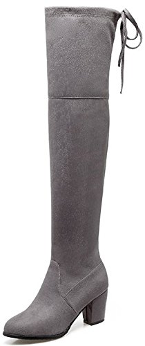 Suede High Boots Grey Knee Round Toe Easemax Over Mid Chunky Faux Women's Zip Heel Up Dressy wBZt1O