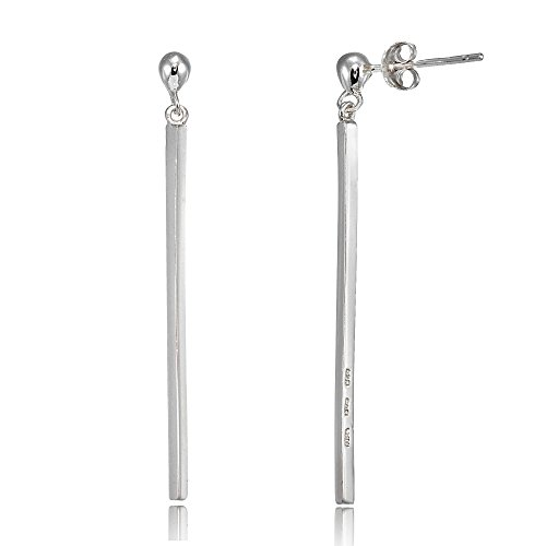 (Sterling Silver Polished Long Bar Dangle)