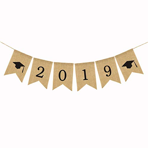 Rainlemon Jute Burlap 2019 Graduation Party Banner Classroom Decoration Photo Booth -