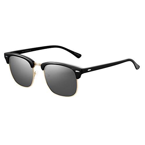 ac2650a486 JULI Polarized Sunglasses Mens Womens 3016 Vintage Clubmaster Semi-rimless  52MM best