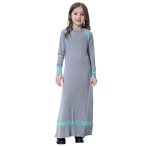 HYIRI Girl Solid Saudi Arab Islamic Women's Muslim Dubai Robe for Girl Abaya Dubai Dress Gray ()