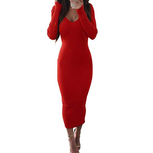 Women Casual Long Sleeve Ribbed Knee Length Sexy V Neck Bodycon Spring Dress Red XL