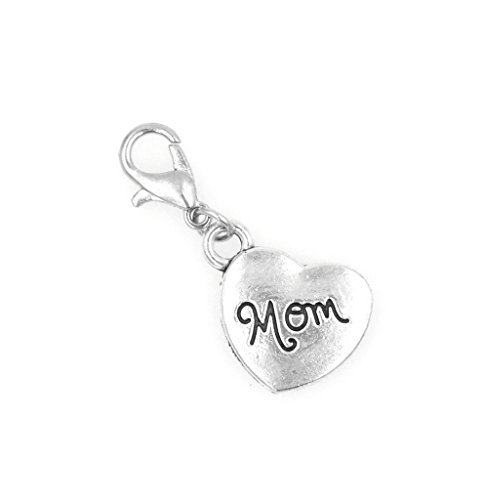 Attach Charms Charm Bracelet (Heart Mom Clip On Charm Zipper Pull Perfect for Necklaces and Bracelets)
