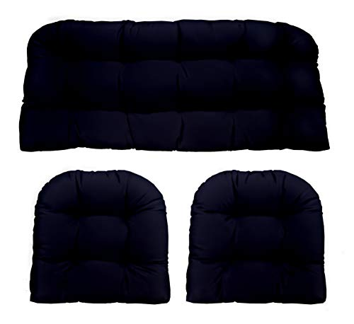 Resort Spa Home Decor Navy/Dark Blue Solid Fabric Cushions for Wicker Loveseat Settee & 2 Matching Chair Cushions