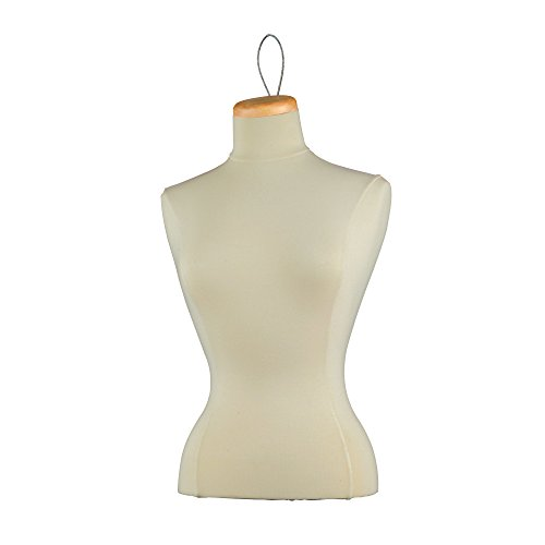 Econoco F5LP Female Blouse Form Tailor Bust, Neckblock and Wire Loop, Creme by Econoco