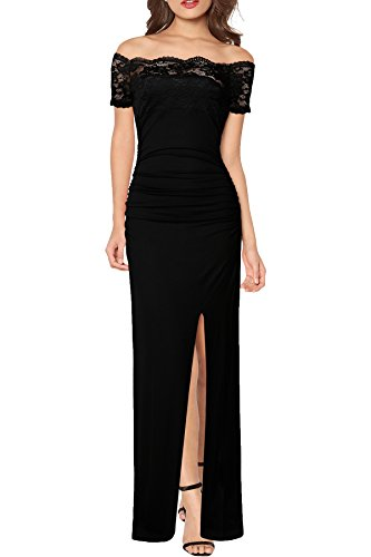 WOOSEA Women's Floral Lace Sexy Off Shoulder Formal Wedding Maxi Long Dress (Small, Black)