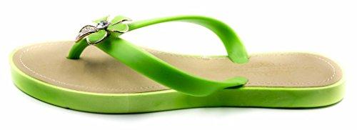 Green Jelly Floral Women's Flop Albert Sandal Charles Flexible Beach Comfortable Flip Rhinestone xfROqnAw7