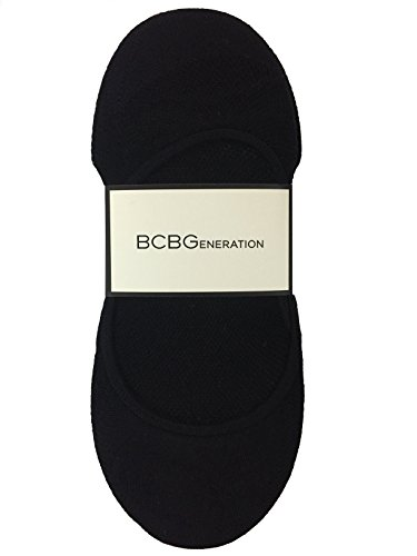 BCBGeneration Women's 6 Pack Nylon Liner NO Shows, Black, Ladies 9-11 (Shoe Size 4-10)