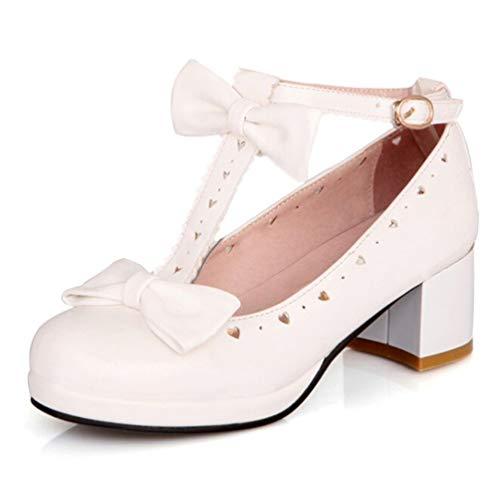 Jrenok Femmes Pompes Frais Sweet Lolita Arc Japonais Croûte Épaisse Étudiant Chaussures Talons Hauts Blanc