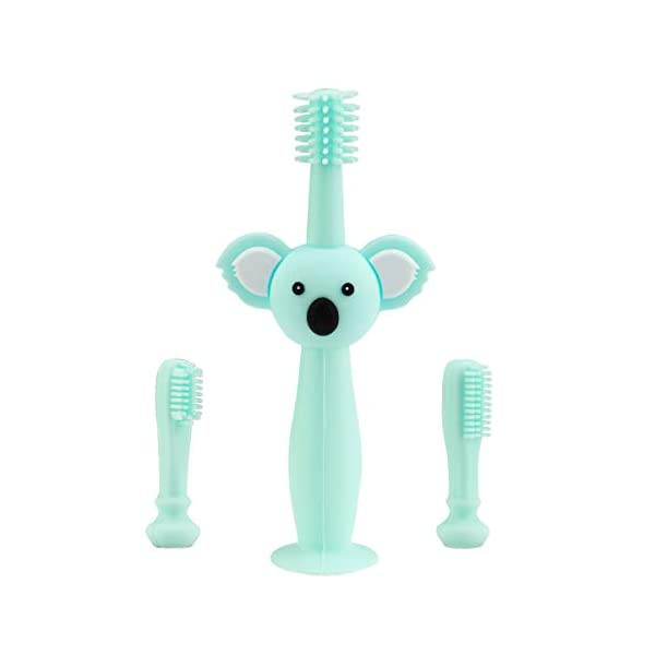 Vicloon Cepillo Dientes Bebe, Cepillo de Dientes de Silicona, Mango de Koala, Diseño de Ventosa y Anillo Protector de… 3