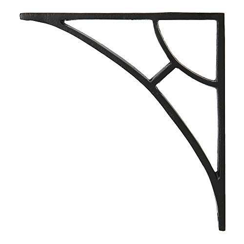 (Set of 2 Classic 6 1/2 Inches Iron Shelf Brackets with Black Powder Coat Finish Heavy Duty Adjustable Support Brackets Easy Installation Hardware)