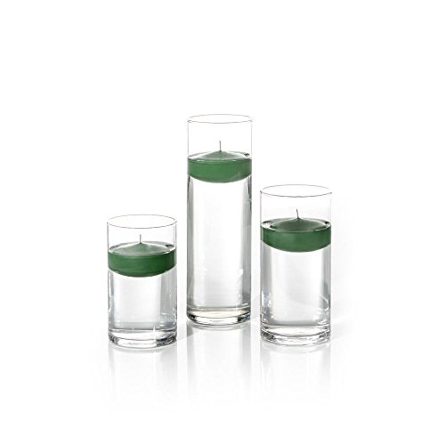 Candles Floating Green Set - Yummi Set of 18 Floating Candles and Cylinder Vases - Hunter Green