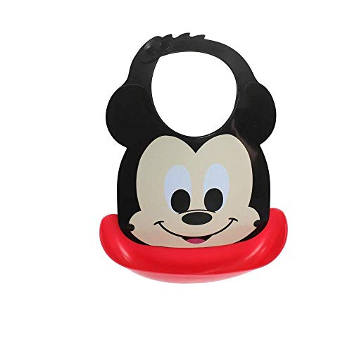 HuBaby Mickey & Winnie the Pooh Waterproof Silicone Baby Bib with Detachable Food Catcher (Mickey & Winnie the Pooh)