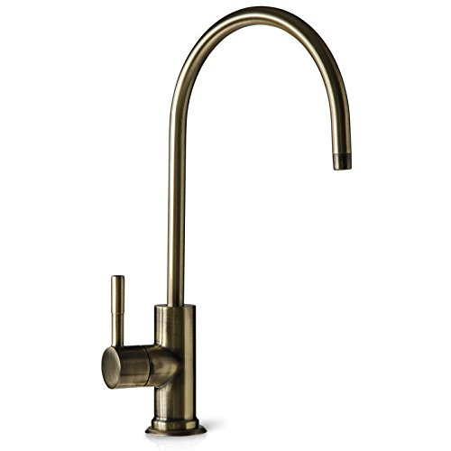 Lead Antique Brass (iSpring GA1-AB Heavy Duty Kitchen Bar Sink Drinking Water Faucet, Commercial Water Filtration Faucet - Antique Brass - Contemporary Style High-Spout)
