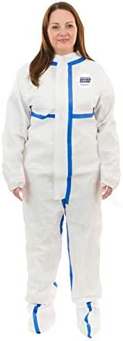 ViroGuard 2 Heavy Duty Biohazard Protection Coverall (White) with Attached Boots and Elastic Wrist with Thumb and Finger Loops (3XL, Case of 25)
