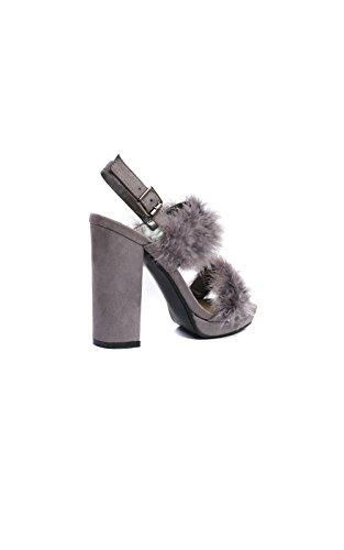 Ikrush Womens Alex Fluffy High Heels Grey GhRd8g