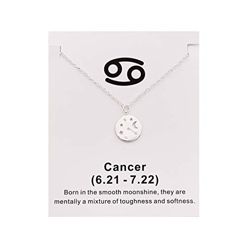 Your Always Charm Zodiac Necklace,Astrology Horoscope Constellation Zodiac Sign Pendant Necklace for Women and Girls (Cancer)