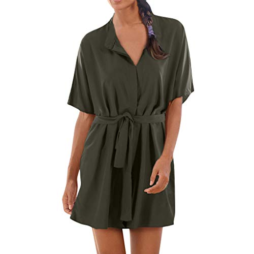 Caopixx Dress for Women Casual Summer Clothing Tunic Short Sleeved Solid Design Buttons Belt Skirt Army Green ()