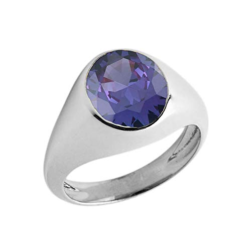 Elegant Sterling Silver Solitaire February Birthstone Gentleman's Pinky Ring (Size 4)