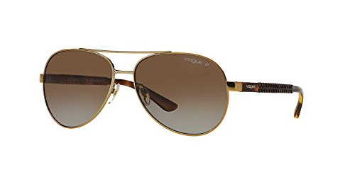 Vogue Eyewear Womens Sunglasses (VO3997) Gold/Brown Metal - Polarized - - Sunglasses Vogue