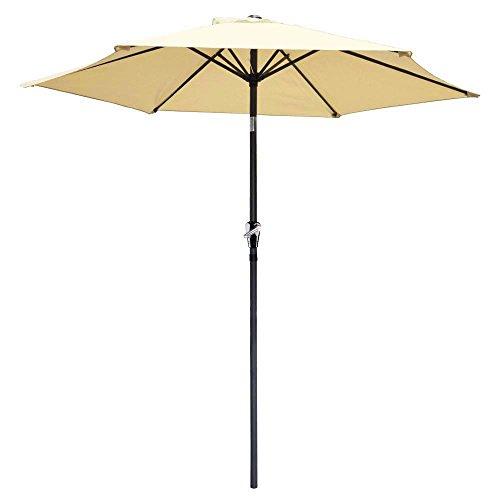 Yescom 8ft Aluminum Outdoor Patio Beige Umbrella w/ Crank Ti
