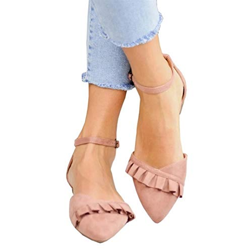 Coutgo Womens Pointed Toe Ballerina Flats Wrap Ankle Strap Ruffle Ballet Work Walking Shoes