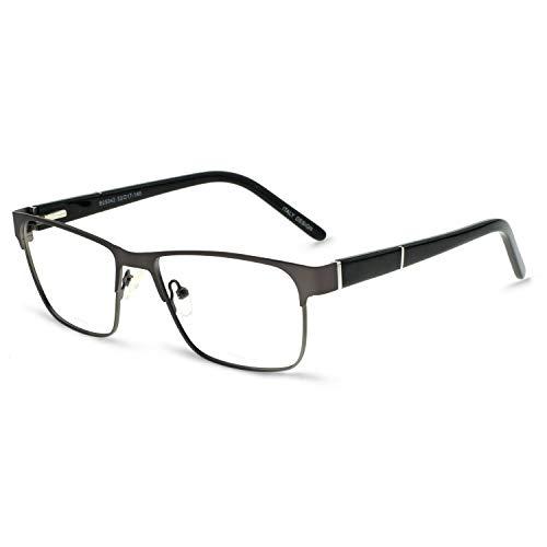 OCCI CHIARI Mens Rectangle Eyewear Full-Rim Metal Non-Prescription Clear Optical Glasses Gun+Black (Glasses Rectangle Designer)