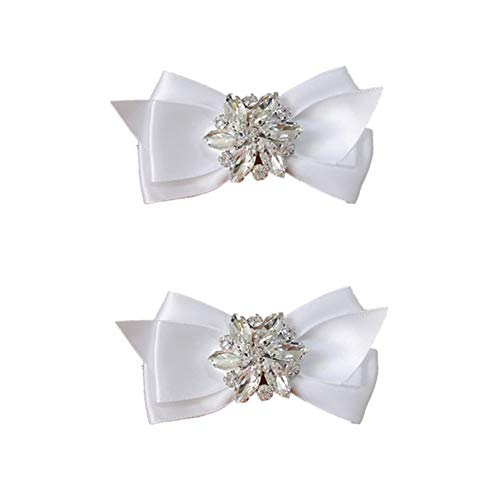 Douqu Rhinestone Crystal Wedding Bridal Shoe Bow Boots Clips detachable shoes buckle Shoe Decoration Charms Pair Jewelry (White)