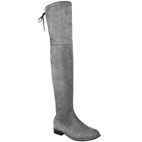 Miss Image UK Womens Ladies Flat Low Heel Over The Knee Thigh HIGH TIE Zip up Stretch Riding Boots Shoes Size Grey Faux Suede
