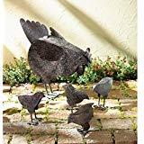 Garden Decor 5 PC Set! Country Hen With Chicks Sculpture Patio Garden Decor Chicken Yard Art