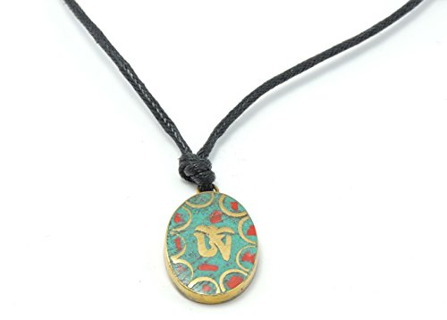 - Handmade Tibetan Turquoise and Coral Inlayed Brass Tibetan Om Pendant Necklace