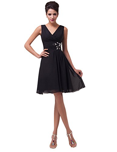 Sleeveless Party Dresses for Women Short V-Neck Size 16