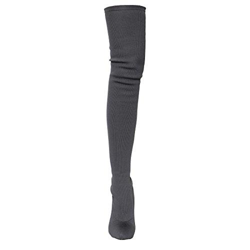 Beston Ej69 Femme Stretch Extensible Ajustement Élastique Cuisse Haute Bottes Demi Taille Petit Gris