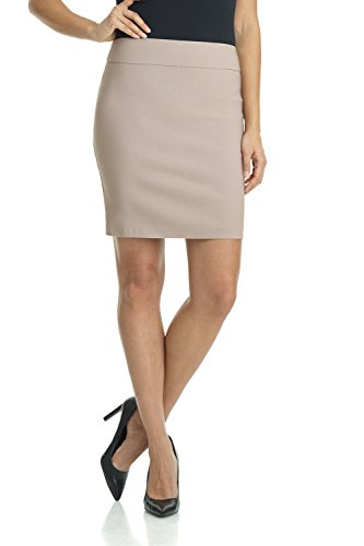 Khaki Pencil Skirt - Rekucci Women's Ease Into Comfort Above The Knee Stretch Pencil Skirt 19 inch (X-Small,Khaki)
