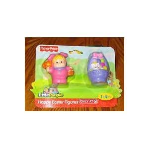 Little People Easter Set - Purple Easter Basket & Little People PINK Bunny Fi...