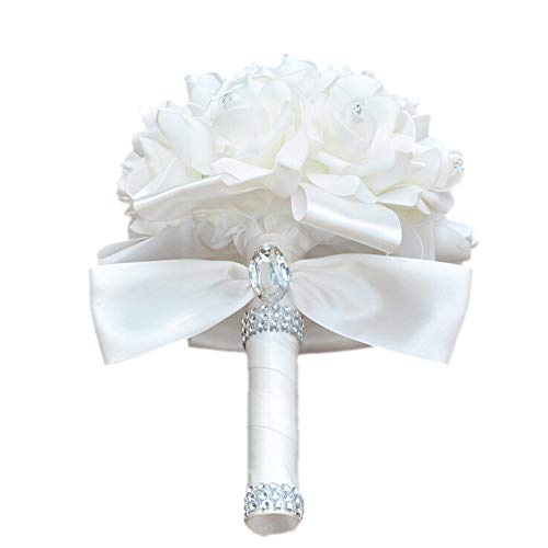 - Colorful Foam Roses Artificial Flower Wedding Bride Bouquet Party (White+White)
