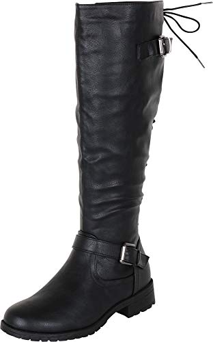 (Cambridge Select Women's Back Corset Lace Strappy Buckle Riding Knee-High Boot (10 B(M) US, Black PU))